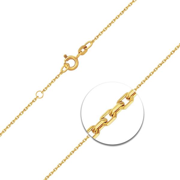 Ankerkette diamantiert mit Zwischenöse Gelbgold
