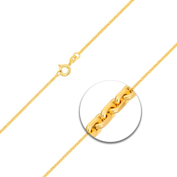 Ankerkette stirnseitig diamantiert Gelbgold