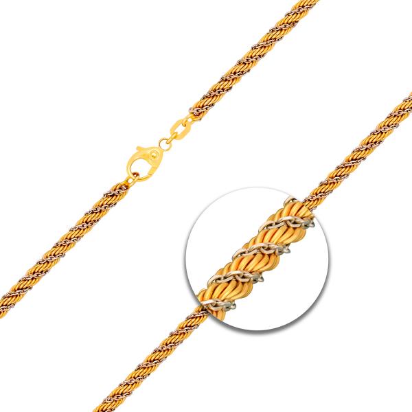 Kordelkette hohl Bicolor Gelbgold / Weißgold