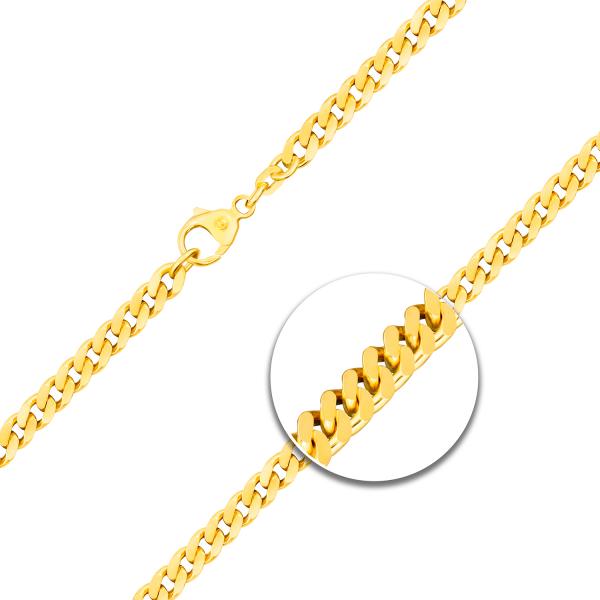 Armband mit Gravurplatte und Herz Panzerkette flach Gelbgold
