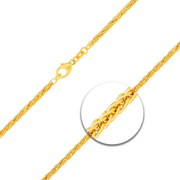 Armband Zopfkette hohl Gelbgold