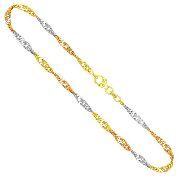 Singapurkette Tricolor Gelbgold / Weißgold / Rotgold