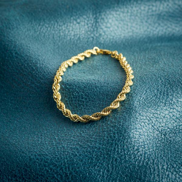 Armband Kordelkette hohl Leichtversion in Gelbgold