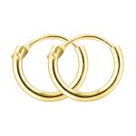 Ohrringe, Creolen, Gelbgold 585 / 14K, Außendurchmesser 9 mm, Breite 1.3 mm, Gewicht ca. 0.2 g
