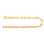 Armband Figarokette diamantiert Gelbgold