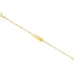 Armband mit Gravurplatte und Zirkonia Figarokette diamantiert Gelbgold