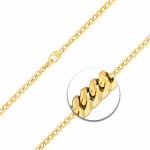 Armband mit Gravurplatte und Herzanhänger Panzerkette flach Gelbgold