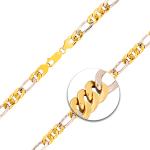 Armband Figarokette hohl Bicolor Gelbgold / Weißgold