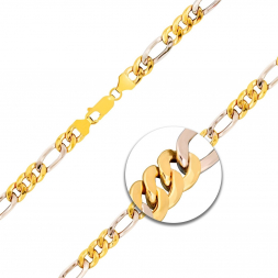 Figarokette hohl Bicolor Gelbgold / Weißgold